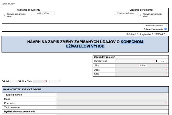 Formulár na zápis konečného užívateľa výhod do obchodného registra.