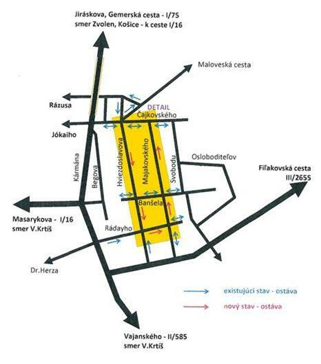 Mapka znázorňujúca nové presmerovanie dopravy.