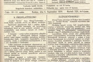 Úradné noviny župy Abauj-turňanskej a mesta Košíc z roku 1919.