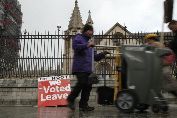 Priaznivec brexitu pred budovou britského parlamentu v Londýne.
