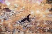 Vyobrazenie lovu veľrýb zo 17. storočia v Múzeu veľrýb v Nagato.