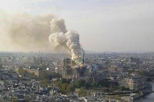 Horiaca bazilika Notre-Dame v Paríži.