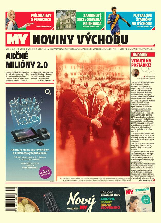 Titulka nového vydania týždenníka MY Noviny východu č.16.