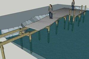 Riešenie promenády na drevených koloch.