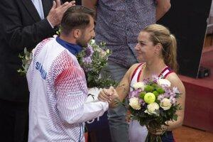 Dominika Cibulková (vpravo) a Matej Lipták.