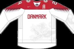Dres Dánska určený pre zápasy, v ktorých je napísané ako domáci tím.