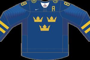 Dres Švédska určený pre zápasy, v ktorých je napísané ako hosťujúci tím.