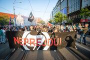Antifašistická mobilizácia na Námestí slovenského národného povstania v Bratislave.