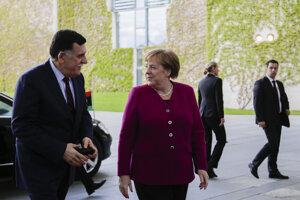 Nemecká kancelárka Angela Merkelová privítala v Berlíne líbyjského premiéra Fájiza Sarrádža.