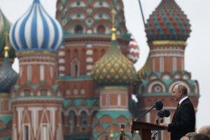 Príhovor Vladimira Putina na moskovskom Červenom námestí.