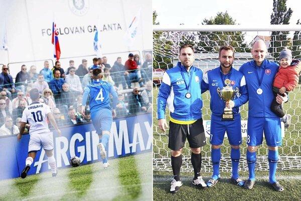 Turnaj v Galante sa hral pred početnou kulisou. Na snímke vpravo sú Peter Kostoláni, Matúš Turan a Eduard Gajdoš.