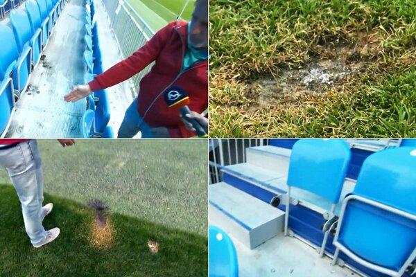 Na snímkach sú poškodené oblasti tribúny a trávnika.
