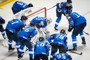 Hráči Fínska v zápase proti Kanade na MS v hokeji 2019.