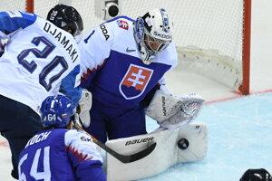 Zákrok Mareka Čiliaka v zápase Slovenska proti Fínsku na MS v hokeji 2019.
