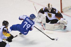 Libor Hudáček v zápase Nemecko - Slovensko na MS v hokeji 2019.