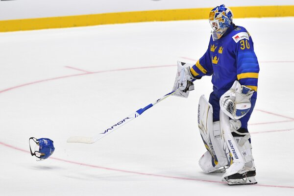 Henrik Lundqvist v zápase Česko - Švédsko na MS v hokeji 2019.