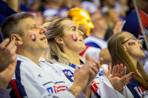 Radujúci sa slovenskí fanúšikovia.