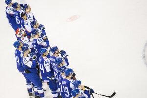 Hráči Slovenska po prehre s Kanadou na MS v hokeji 2019.