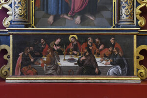 Časť oltára s maľbou poslednej večere.