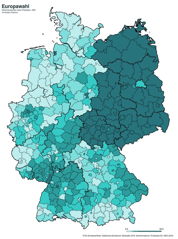 Eurovoľby 2019: Takto volili ľudia v Nemecku stranu AfD.