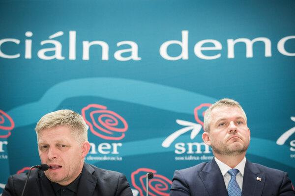 Predseda Smeru Fico a premiér Pellegrini.