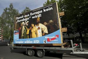 Mobilný predvolebný plagát nemeckej pravicovo-populistickej strany Alternatíva pre Nemecko (AfD) na ulici v Berlíne.