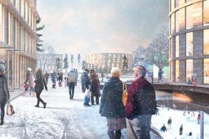 Architektúra platformy sa bude prispôsobovať sociálnym, politickým, environmentálnym a ekonomickým aspektom každej lokality. Na zábere vizualizácia plávajúceho susedstva v severnej Európe.