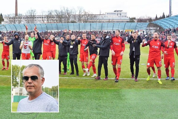 Miroslav Bucha (vo výreze) je jedným z hlavných sponzorov prvoligových futbalistov Serede.