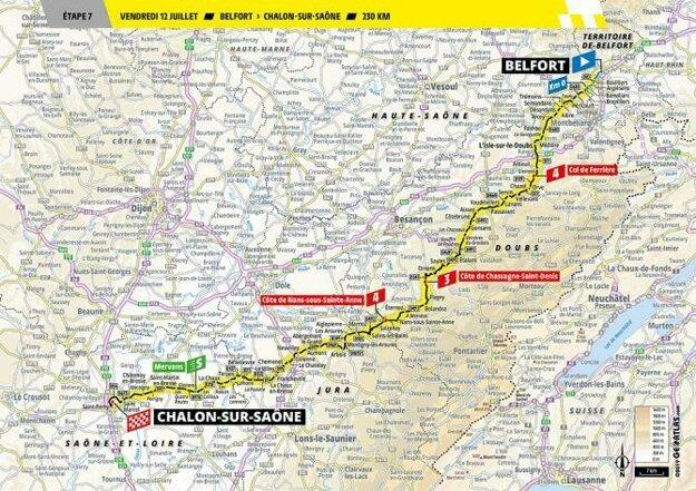 Trasa 7. etapy Tour de France 2019.