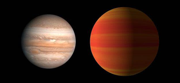 Porovnanie Jupitera a planéty HAT-P-5b (umelecká predstava).