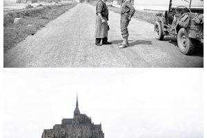 Známy kláštor Mont-St-Michel.
