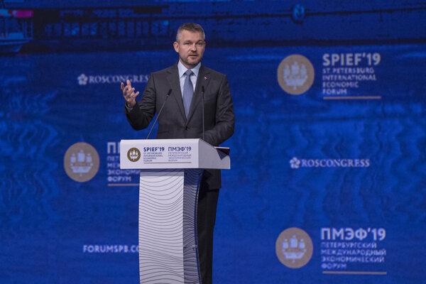 Predseda vlády Peter Pellegrini počas Petrohradského medzinárodného ekonomického fóra. Petrohrad, 7. júna 2019.