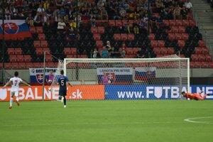 Gól jordánskeho hráča Musu Al -Taamariho v prípravnom zápase Slovensko - Jordánsko.