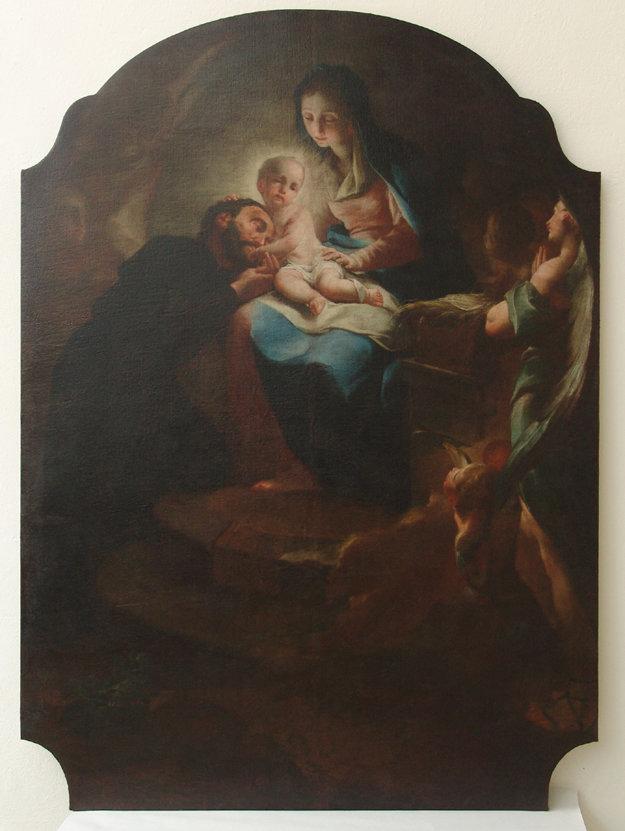Vianočná vízia sv. Kajetána, olej na plátne