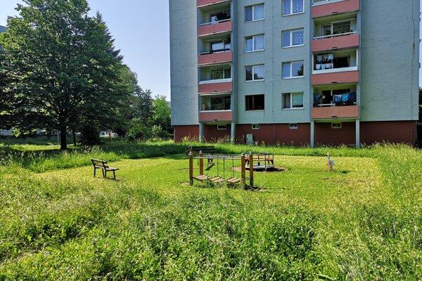 Ihrisko vo vnútrlobloku na Prostejovskej ulici si Prešovčania pokosili sami. (jún 2019)