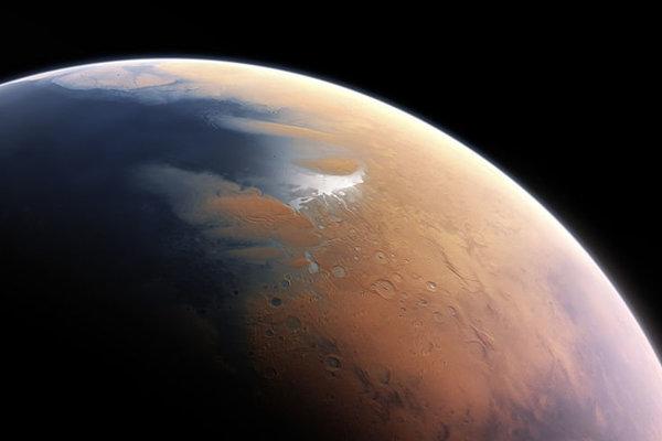 Vizualizácia podoby Marsu spred štyroch miliárd rokov, kedy jeho povrch zrejme pokrývala voda v kvapalnej podobe.