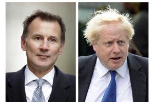 Na combosnímke vpravo britský exminister zahraničných vecí Boris Johnson a vľavo  súčasný šéf rezortu diplomacie Jeremy Hunt.