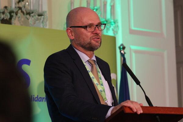 Predseda Richard Sulík počas tlačovej besedy v rámci 12. kongresu strany Sloboda a Solidarita.