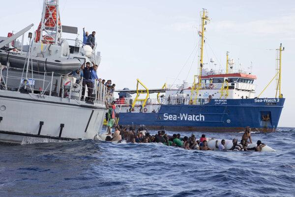 Akcia s účasťou lode Sea-Watch v novembri 2017.