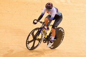 Slovenská reprezentantka v dráhovej cyklistike Tereza Medveďová v bodovacích pretekoch na II. Európskych hrách v Minsku 27. júna 2019.