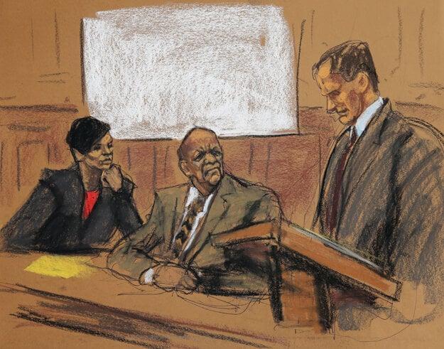 Bill Cosby na súde. Nakreslila Christine Cornellová.