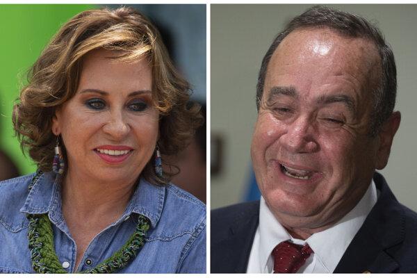 Guatemalskí prezidentskí kandidáti Sandra Torresová a Alejandro Giammattei.