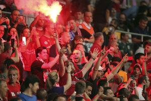 Fanúšikovia Liverpool po vyrovnávajúcom góle v zápase Superpohára UEFA 2019 medzi FC Liverpool - Chelsea Londýn.