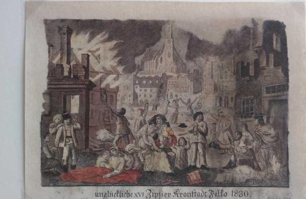 Kolorovaná oceľorytina - Požiar vo Veľkej, 1830 - stav po reštaurovaní.