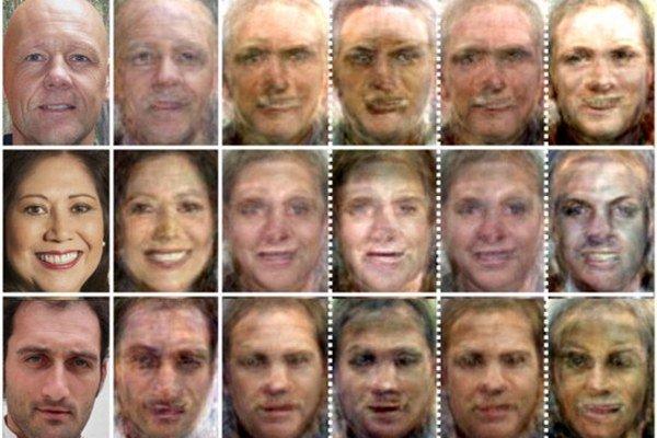Pôvodná fotografia tváre je úplne naľavo. Tretí obraz zľava ukazuje finálnu podobu vytvorenú z údajov odčítaných priamo z mozgu. Ďalšie obrazy predstavujú čiastkové výsledky odčítané z rôznych častí mysle.