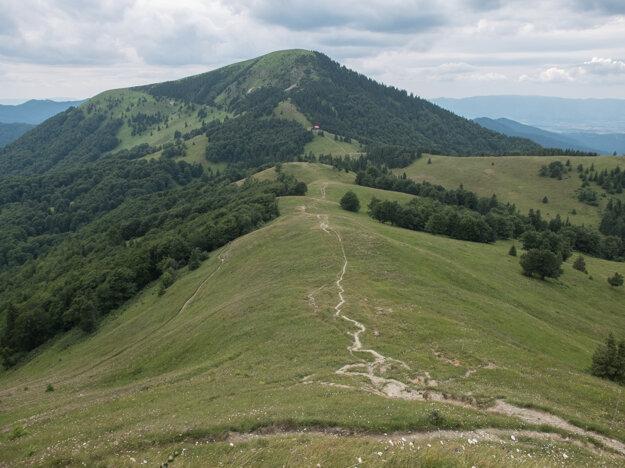Chodník z Ploskej ku Chate pod Borišovom s vrchom Borišov v pozadí.