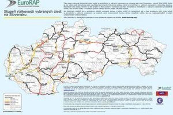 Čím ďalej na východ, tým je viac ciest s vysokým a stredným rizikom. Na juhu, východe a severe Slovenska sú cesty, ktoré neodpustia vodičovi ani najmenšie zaváhanie.