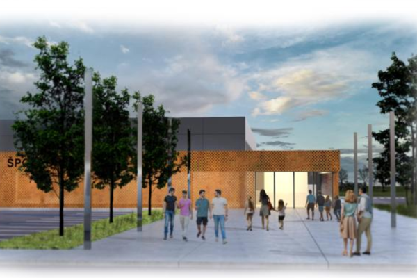 Vizualizácia budúcej športovej haly v Moldave nad Bodvou.