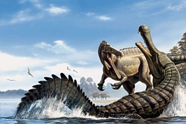 Sarcosuchus imperator bojuje o potravu.