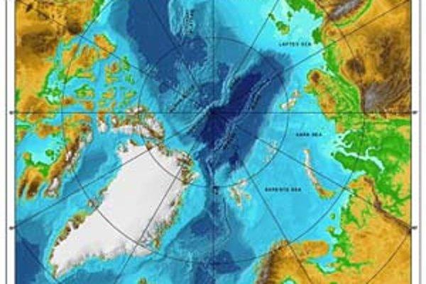 Výšková mapa arktickej oblasti. Gakkelov chrbát sa tiahne od Mora Laptevovcov k severovýchodu Grónska.